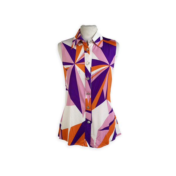 Versace Color Block Silk Sleeveless Shirt with Racer Back Size 40