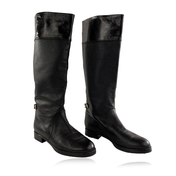 Marc Jacobs Black Leather Knee High Flat Boots Shoes Size 36