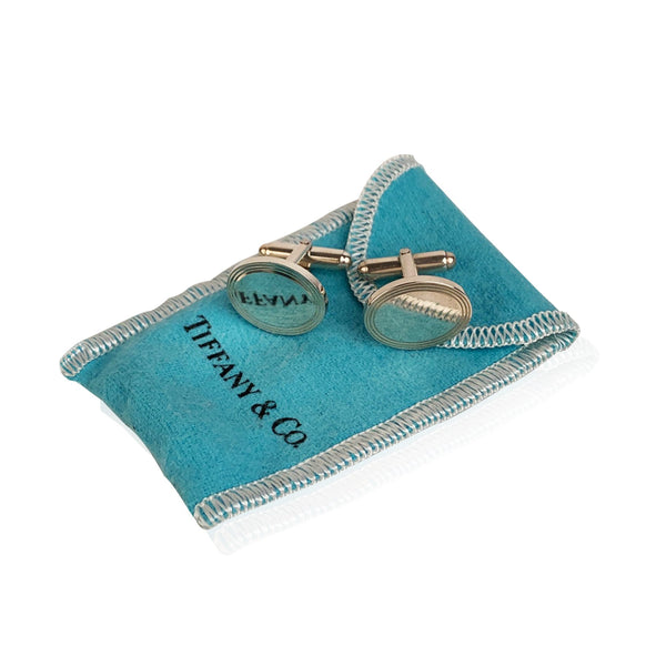 Tiffany & Co. Sterling Silver 925 Oval Cufflinks with Pouch