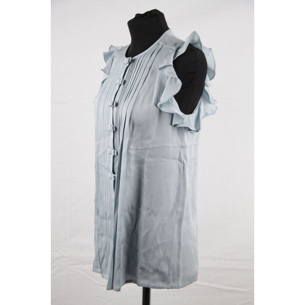 DIANE VON FURSTEMBERG Light Blue Silk PINTUCK SHIRT Sleeveless Top SIZE 2