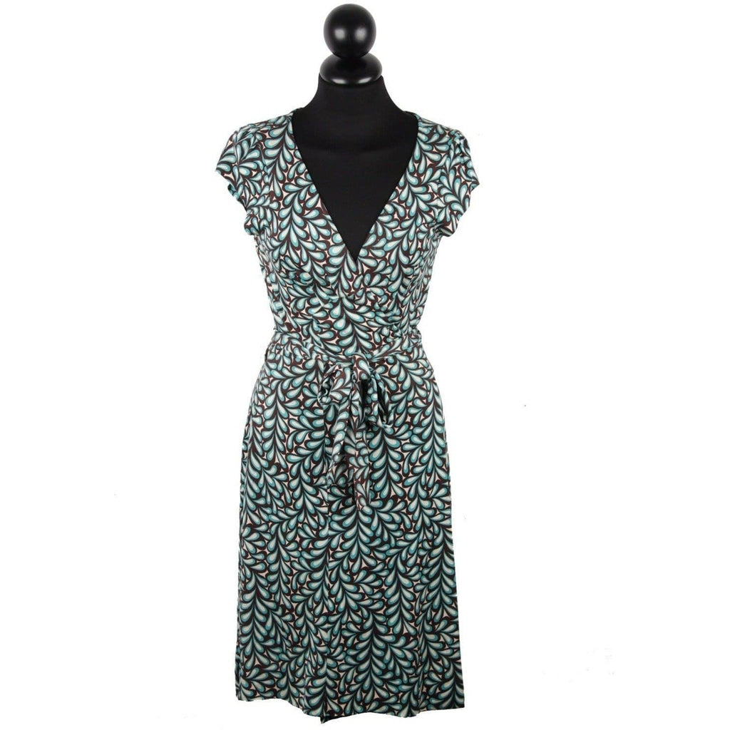 Diane Von Furstemberg Printed Silk Kye Wrap Dress Cap Sleeve Size 4 Opherty & Ciocci