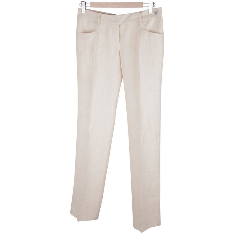 Dolce & Gabbana Beige Linen Central Pleat Trousers Pants Opherty Ciocci