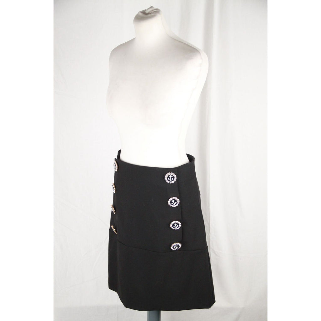 Dolce & Gabbana Black Wool Blend Embellished Mini Skirt Size 40 Opherty Ciocci