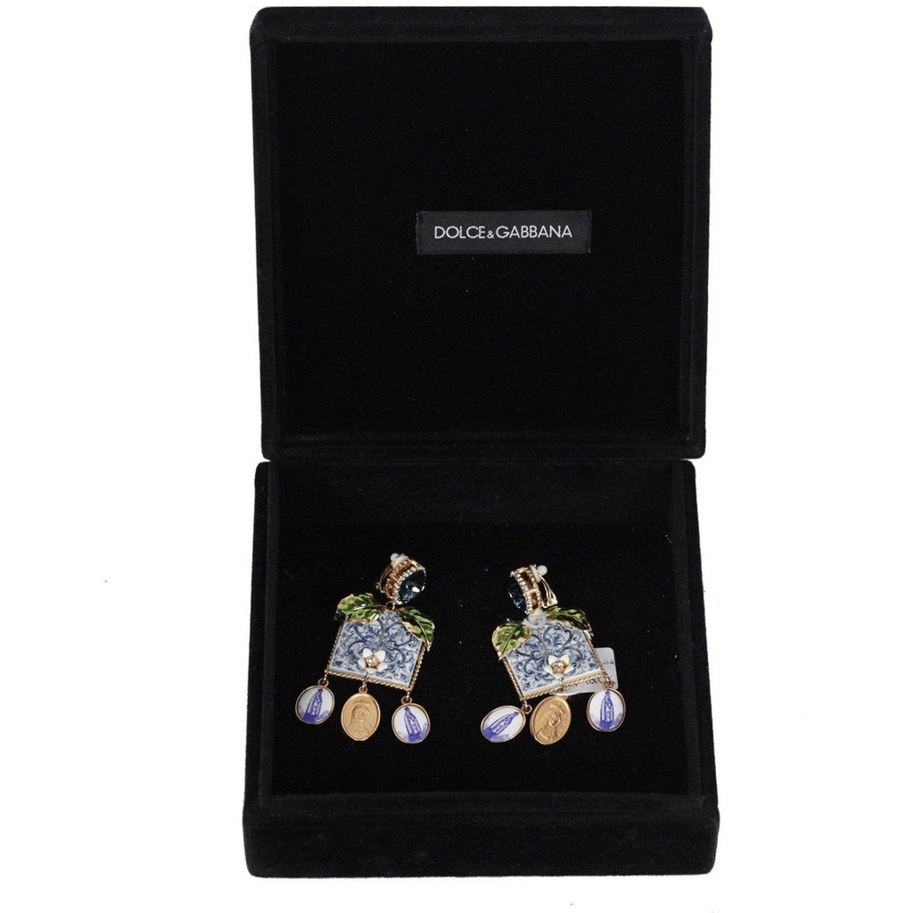 DOLCE & GABBANA Blue MAJOLICA TILES Drop EARRINGS Sicily