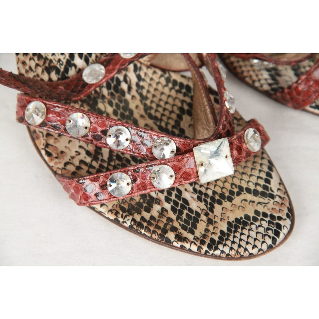 Dolce & Gabbana Brown Snakeskin Heeled Jeweled Sandals Size 38 Opherty & Ciocci