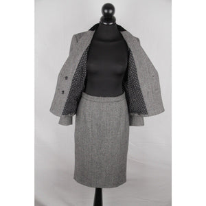 Dolce & Gabbana Herringbone Wool Blend Suit Blazer & Skirt Set Size 38 Opherty & Ciocci