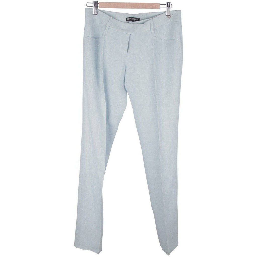 Dolce & Gabbana Light Blue Linen Central Pleat Trousers Pants Opherty Ciocci
