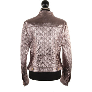 DOLCE & GABBANA Metallic Silver Leather Quilted Moto BIKER JACKET Size 42