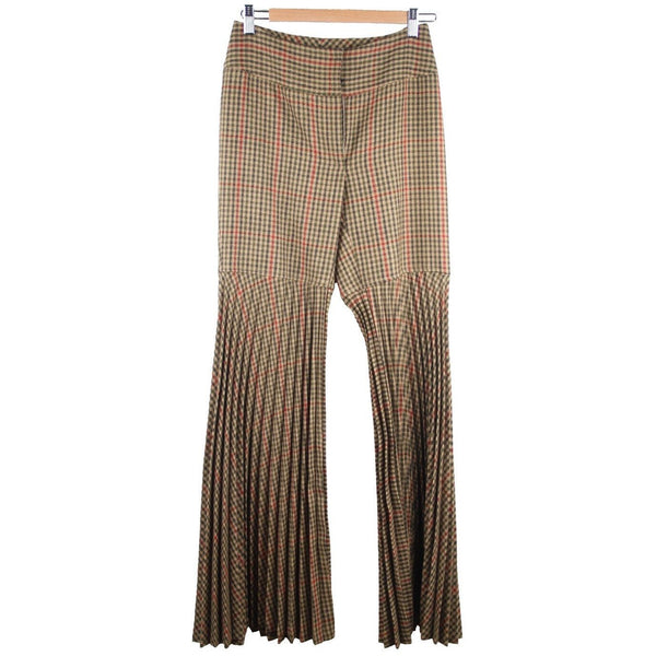 DOLCE & GABBANA Plaid Wool Accordion PLEATED PANTS Trousers SIZE 40