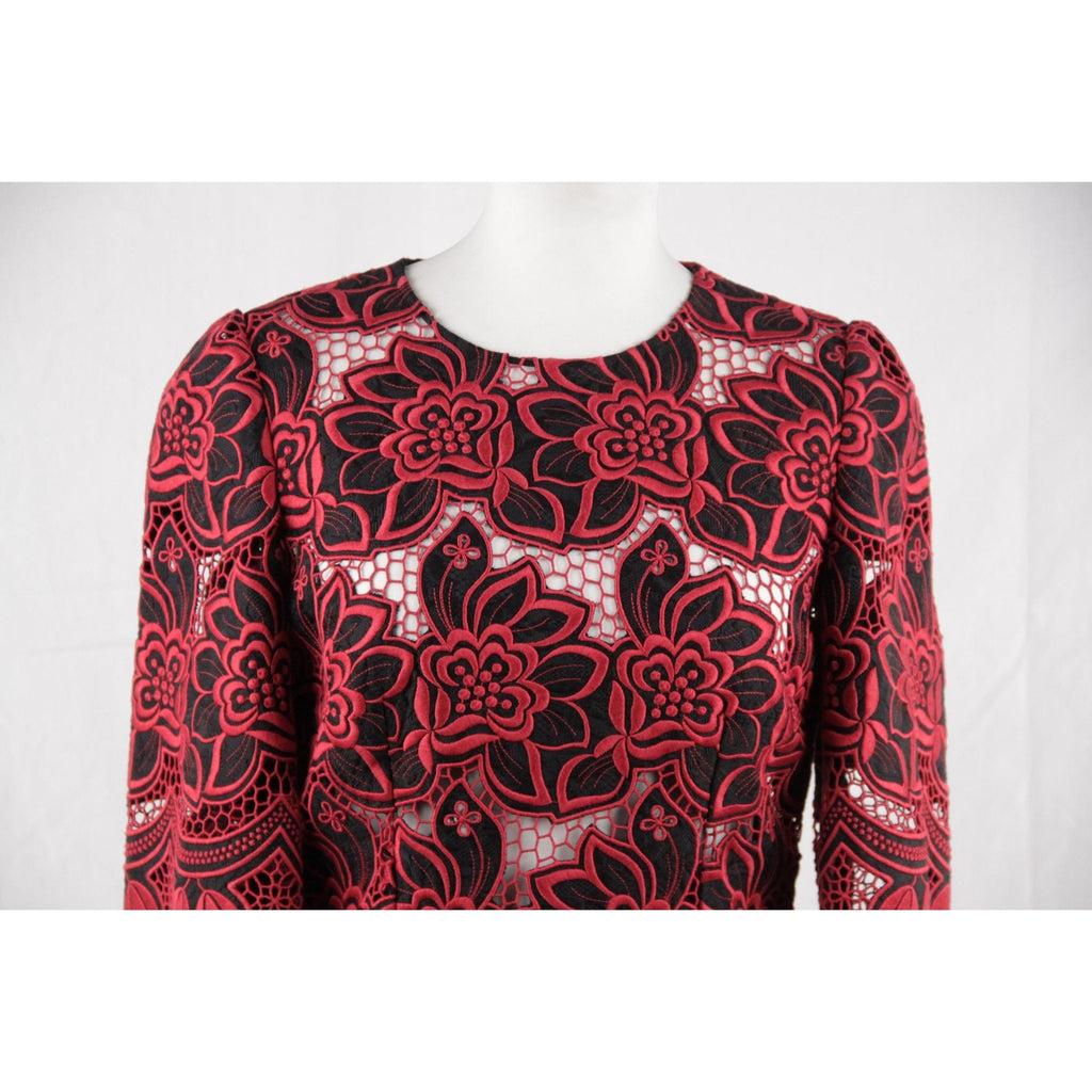 DOLCE & GABBANA Red Black FLORAL Cotton & Silk EMBROIDERED DRESS Size 42