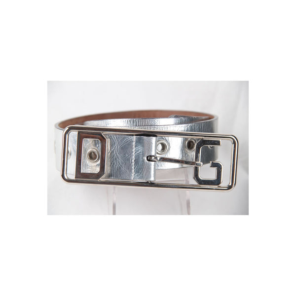 DOLCE & GABBANA Silver Leather BELT Perforated Studs Size 42\90