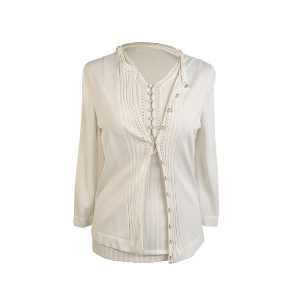 Hermes White Viscose Twin Set Cardigan and Sleeveless Top Size 38 FR