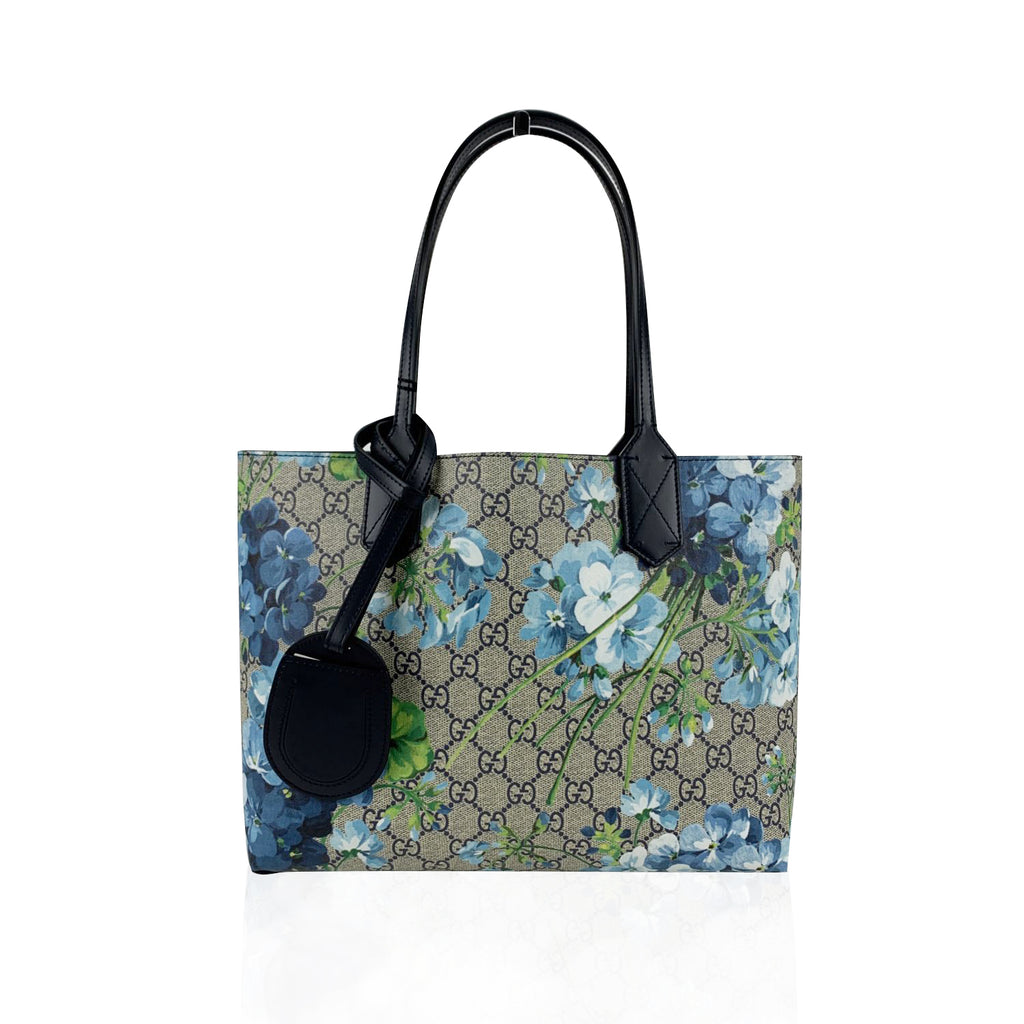 Gucci Monogram GG Supreme Blue Blooms Small Reversible Tote Bag