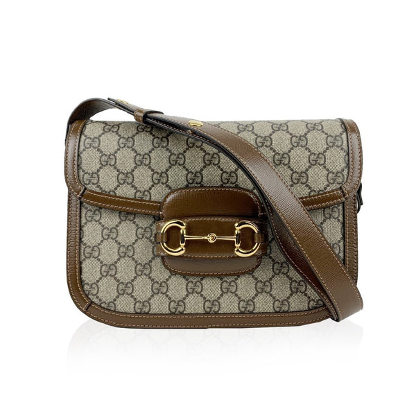 Gucci Monogram Canvas and Leather 1955 Horsebit Shoulder Bag
