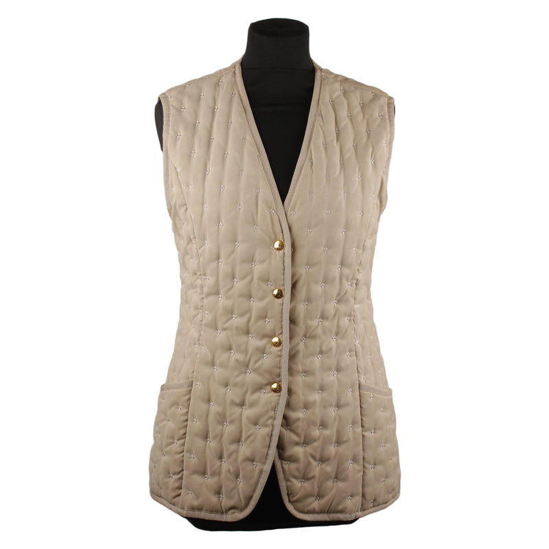 Hermes Vintage Embroidered Padded Vest Size 38