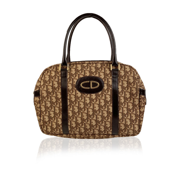 Christian Dior Vintage Brown Logo Tapestry Canvas Satchel Bag