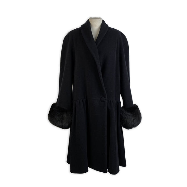 Alma Vintage Black Wool and Cashmere Coat with Fur Trim Size 44