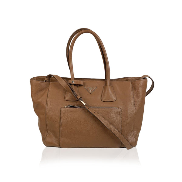 Prada Tan Leather Vitello Phenix Tote Shoulder Bag BN2795