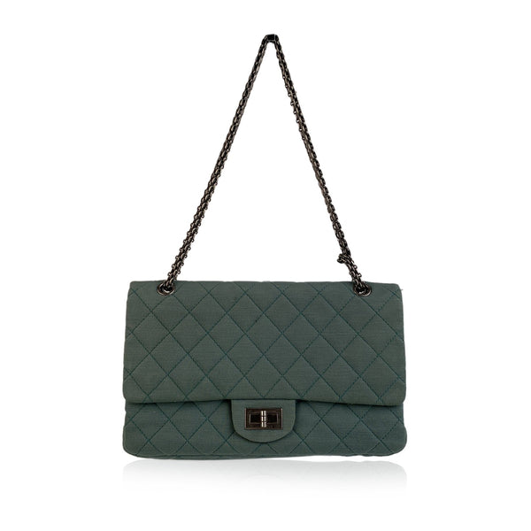 Chanel Green Reissue 2.55 Flap Classic 227 Shoulder Bag in Jersey