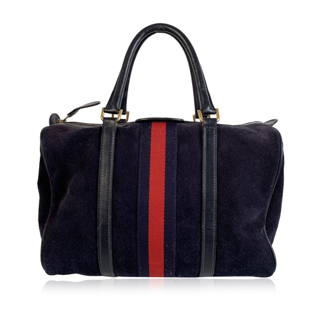 Gucci Vintage Blue Suede Top Handles Boston Bag with Stripes