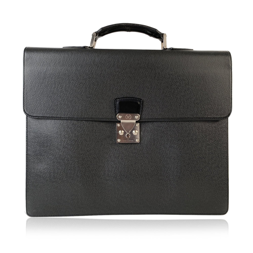 Louis Vuitton Black Taiga Leather Robusto 2 Compartments Briefcase