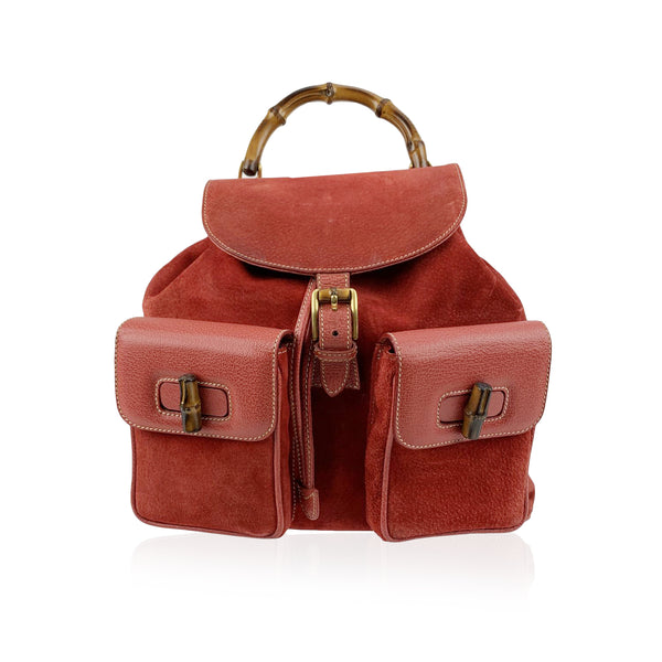 Gucci Vintage Red Suede and Leather Bamboo Backpack Bag