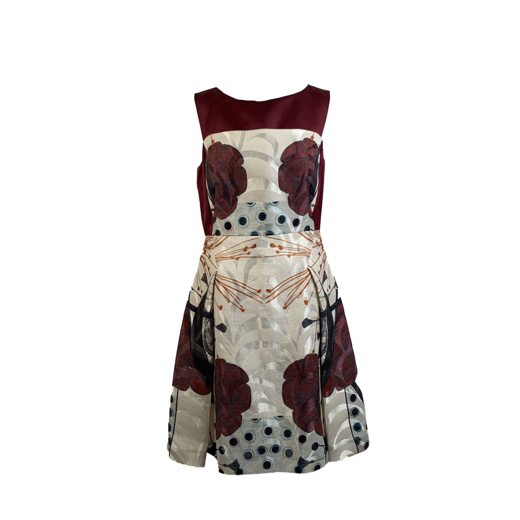 Antonio Marras Burgundy Beige Fit and Flare Dress Size 42 IT