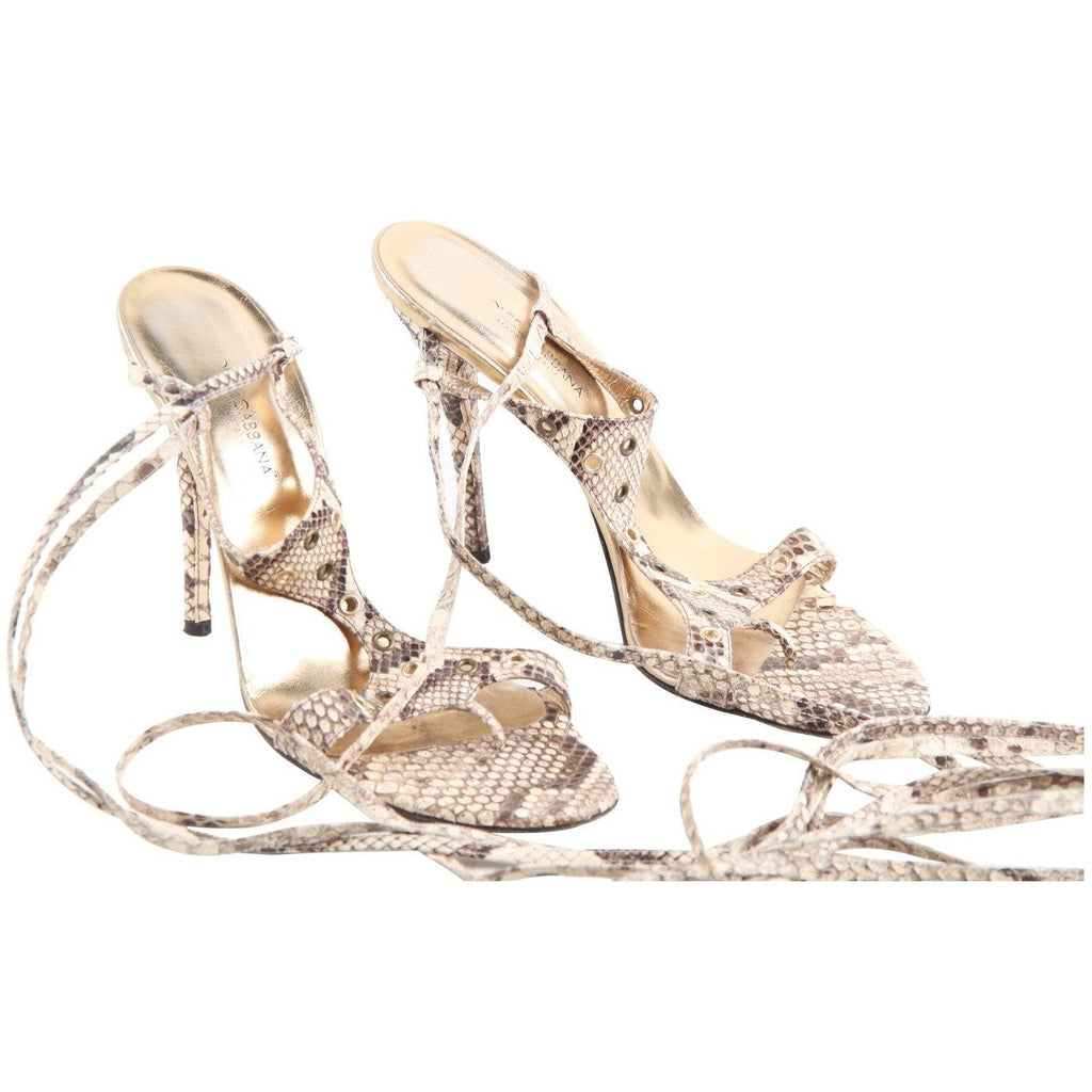Dolce & Gabbana Snakeskin Heeled Sandals Thong Shoes 40