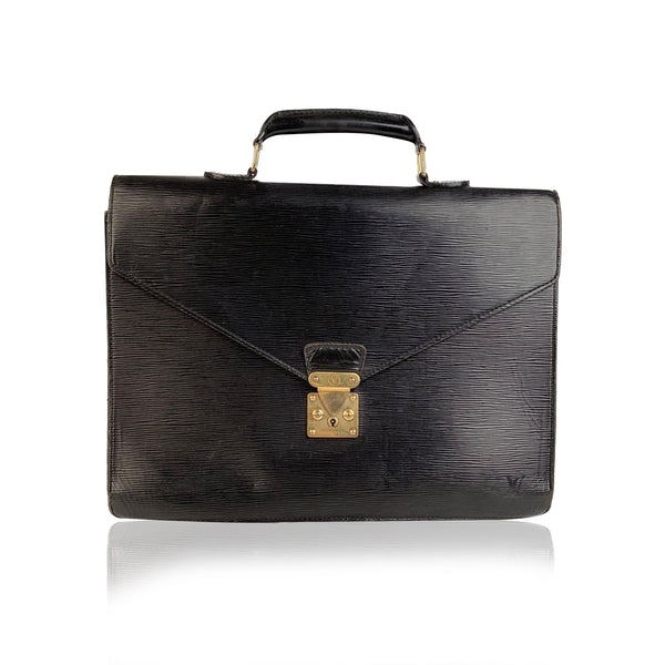 Louis Vuitton Vintage Black Epi Leather Ambassadeur Briefcase