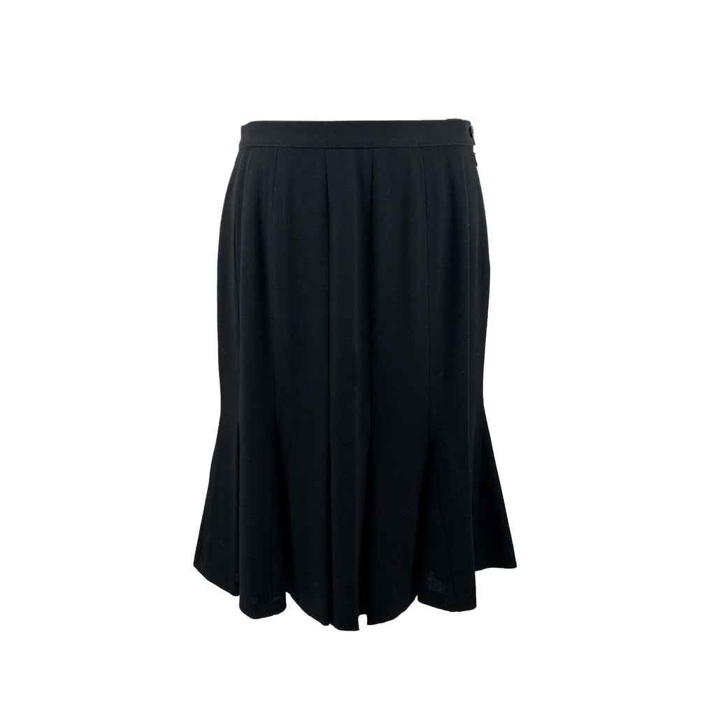 Chanel Vintage Black Wool Fishtail Knee Lenght Skirt Size 42 FR