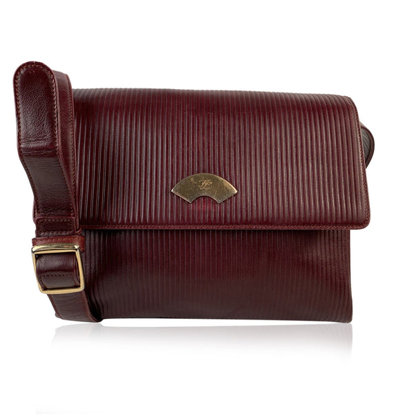 Karl Lagerfeld Vintage Burgundy Ribbed Leather Shoulder Bag