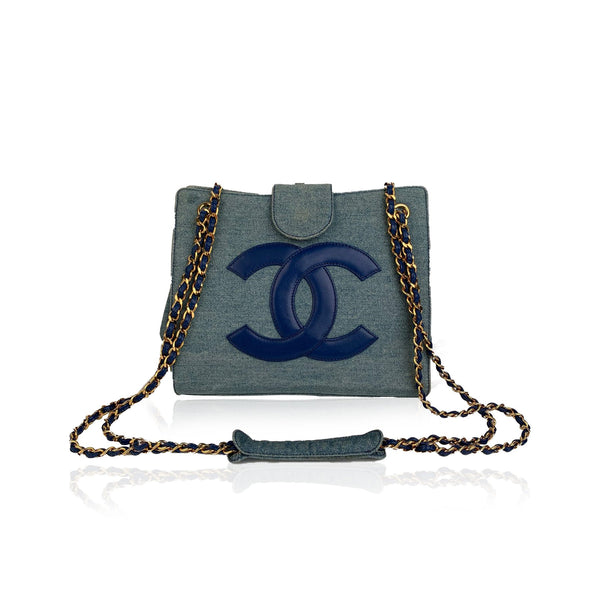 Chanel Vintage Blue Denim Jeans Shoulder Bag with CC Logo