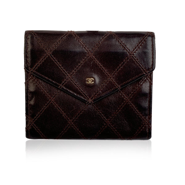 Chanel Vintage Brown Quilted Leather Coin Wallet with CC Logo