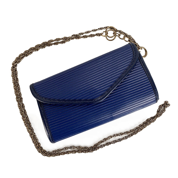 Christian Dior Vintage Blue Mini Pouch Cosmetic Bag with Chain