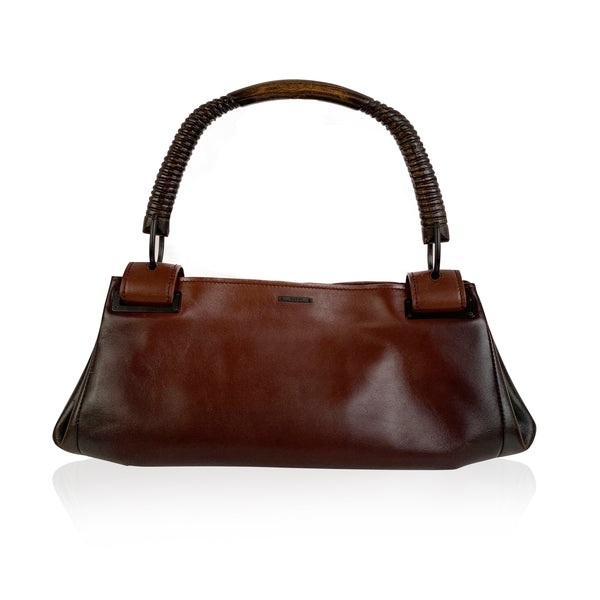 Gucci Gradient Brown Leather Wooden Handle Satchel Bag