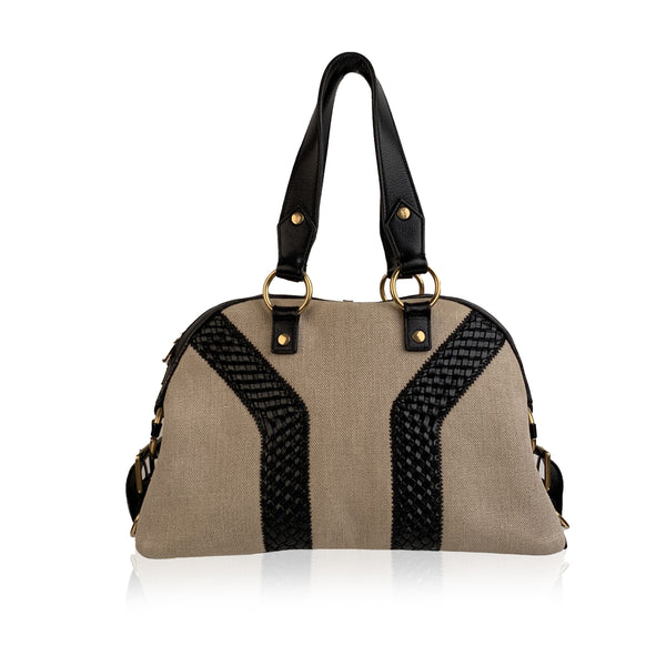 Yves Saint Laurent Beige Canvas and Black Leather Bowling Bag Tote