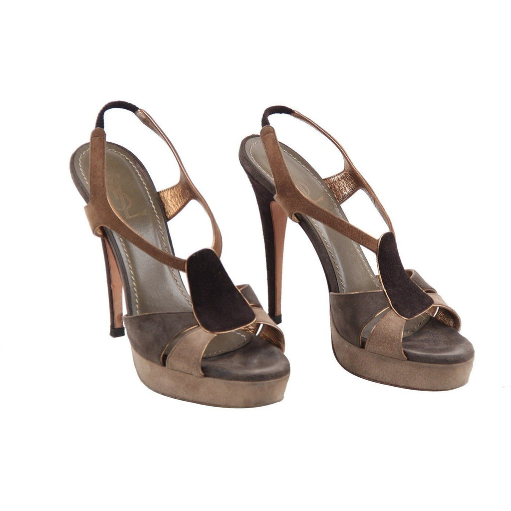 Yves Saint Laurent Tan Gray Suede Sandals Pumps Heels Shoes Size 39.5 IT