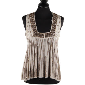 Easton Pearson Beige Silk Embellished Sequin Sleeveless Blouse Top Sz 8 Opherty & Ciocci