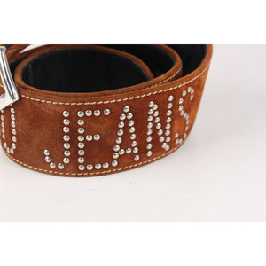 Moschino Jeans Vintage Tan Suede Studded Women Belt Size 73