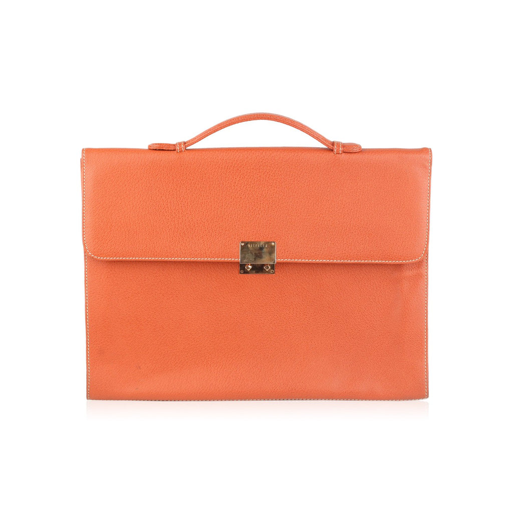 Valextra Orange Leather Slim Briefcase Document Holder Portfolio