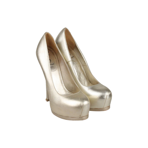 Yves Saint Laurent Gold Metal Leather Platform Pumps Heels Shoes Size 39