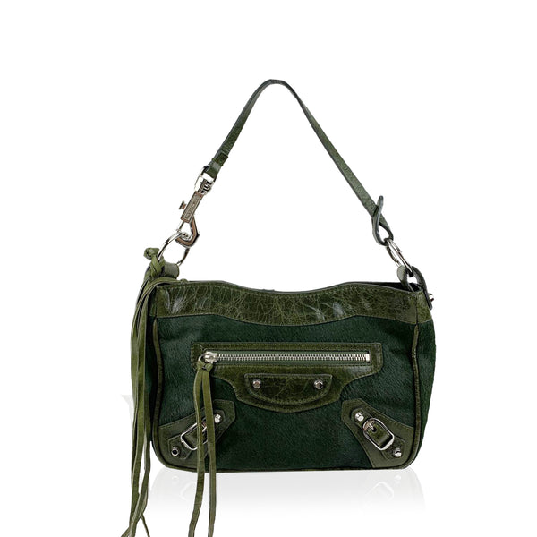 Balenciaga Dark Green Pony Hair Motocross Top Handle Mini Bag