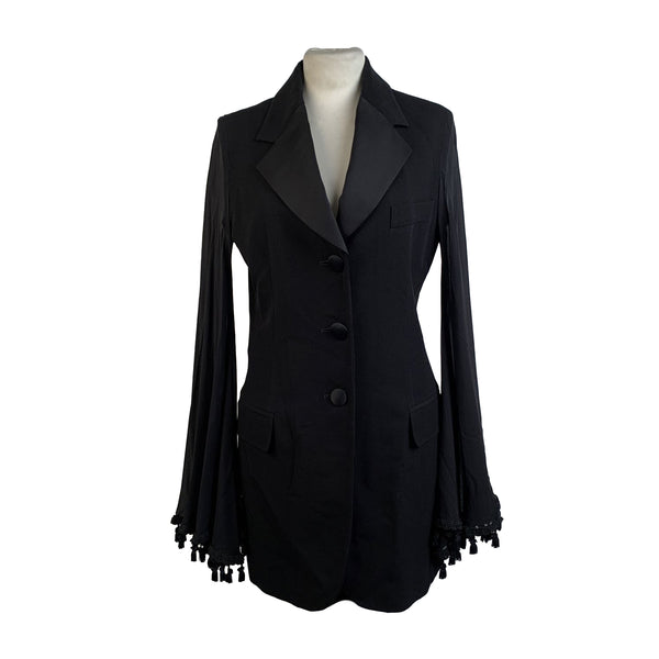 Dolce & Gabbana Black Blazer with Flared Chiffon Sleeves Size 42