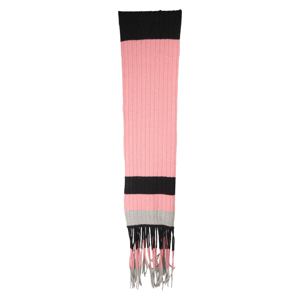 CACHAREL Pink and Black STRIPED Wool & Angora SCARF with Fringes