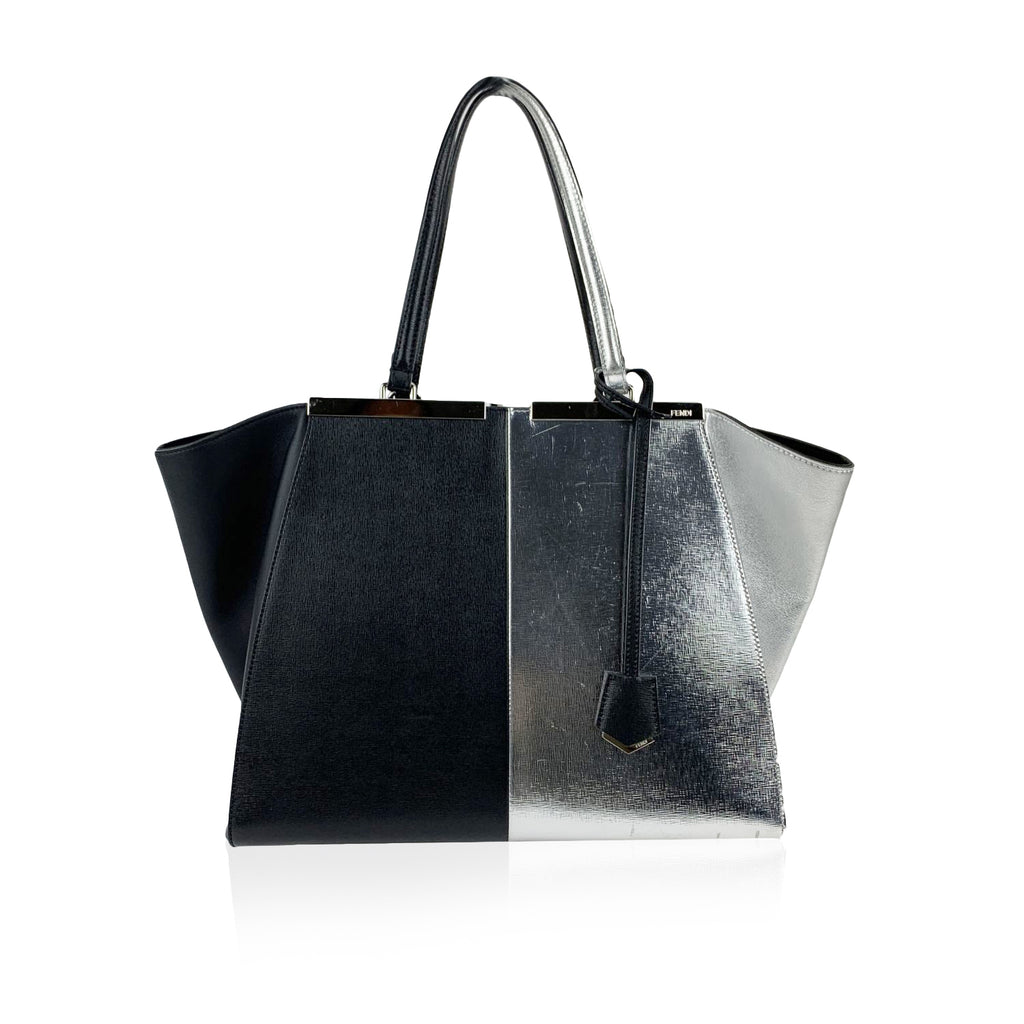Fendi Bicolor Black and Silver Leather 3Jours Tote Shopping Bag
