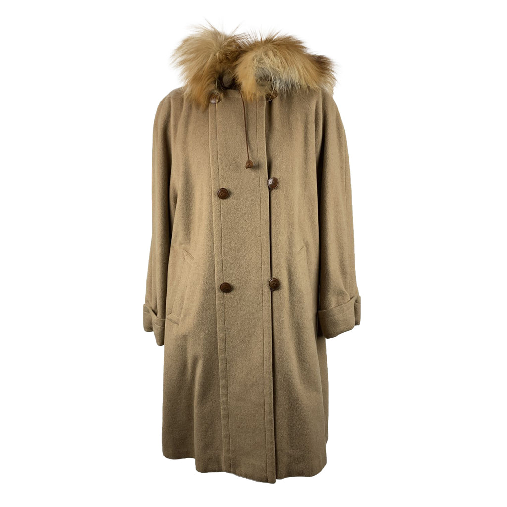Arfango Vintage Beige Pure Camel Hair Hooded Coat Size M