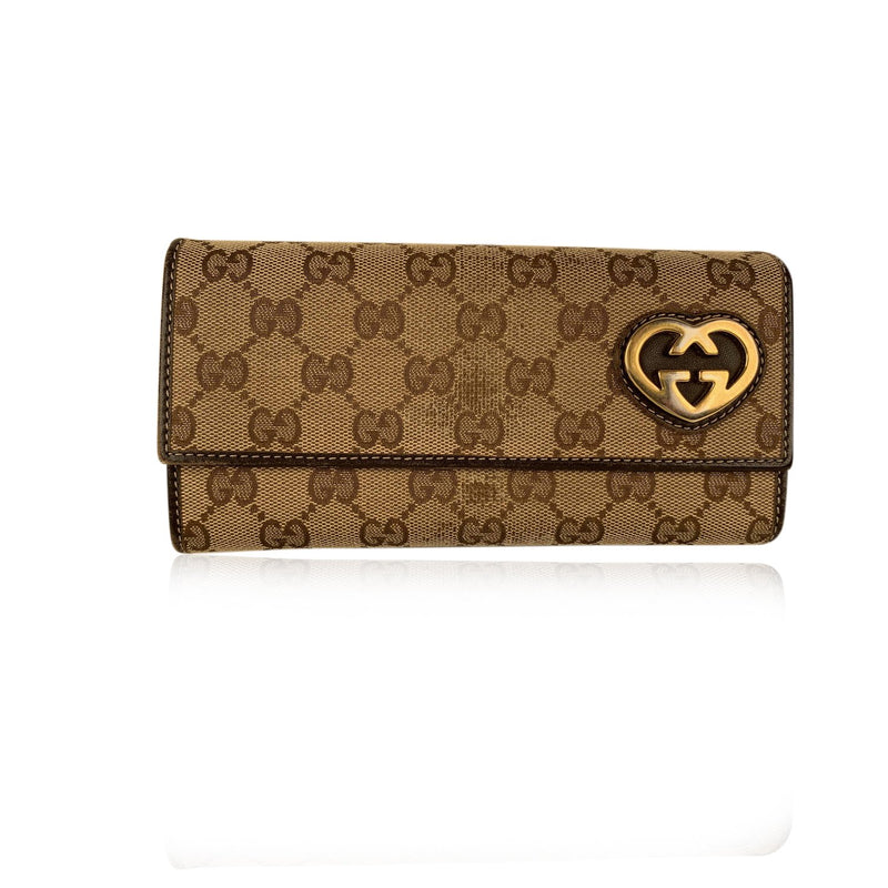 Gucci Dark Brown Canvas Monogram Guccissima Heart Wallet Card Holder