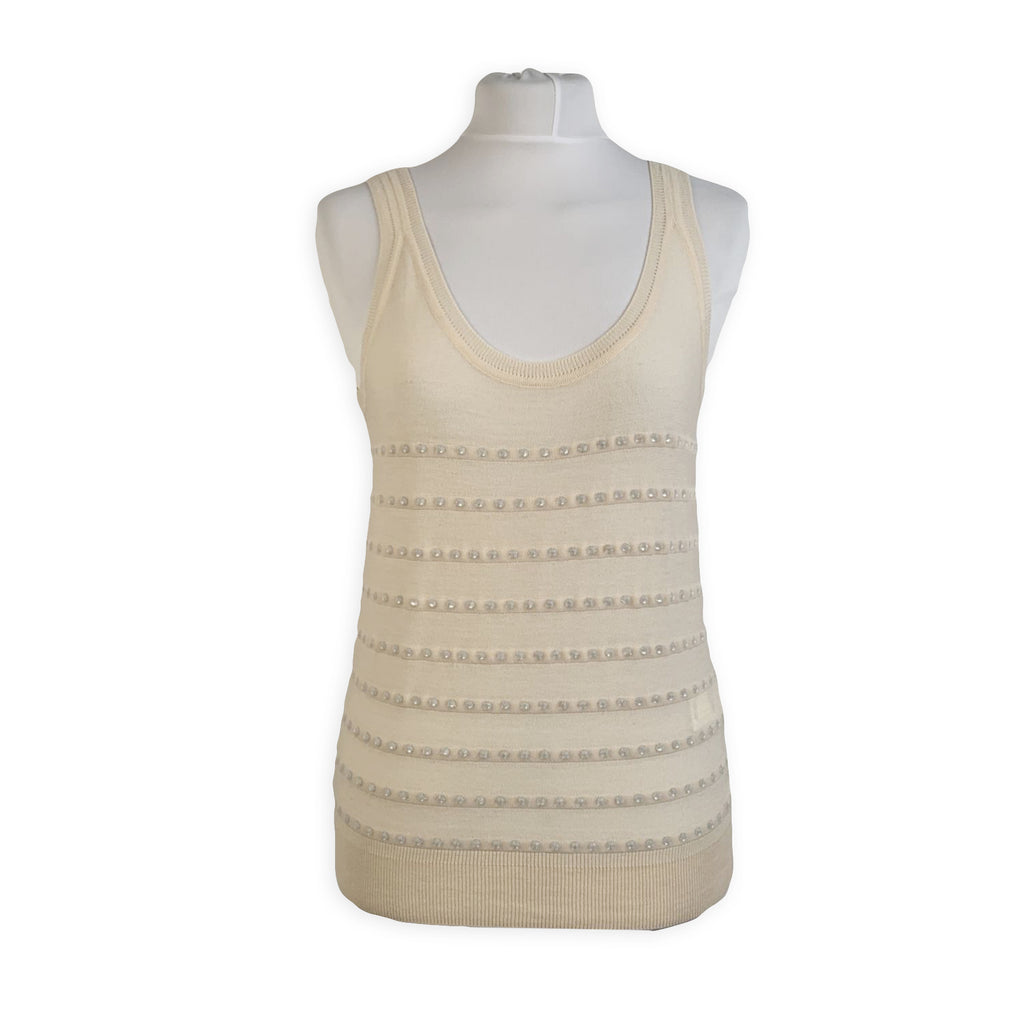 Sonia Rykiel Beige Wool Blend Knit Tank Top with Rhinestones Size 36