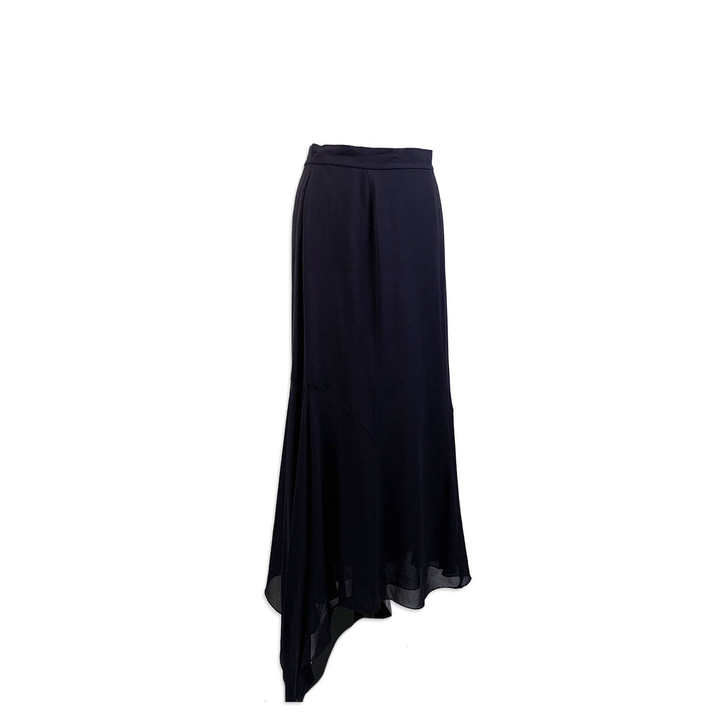 Chanel Boutique Vintage Navy Blue Silky Asymmetric Long Skirt - OPHERTY & CIOCCI