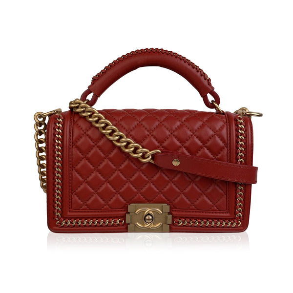 Chanel Red Quilted Leather Top Handle Medium Boy Bag with Chains